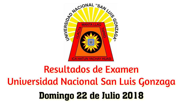 Resultados Universidad Nacional San Luis Gonzaga UNICA 2018