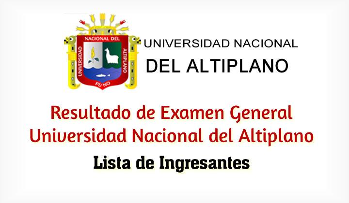 Resultados de Examen UNA Puno Universidad Nacional del Altiplano