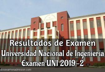 Resultados de Examen UNI 2019