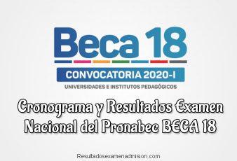 Cronograma y Resultados Examen Nacional del Pronabec BECA 18