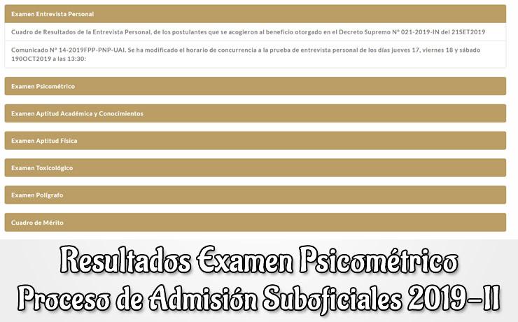 Resultados Examen Psicometrico ETSPNP 2019-2