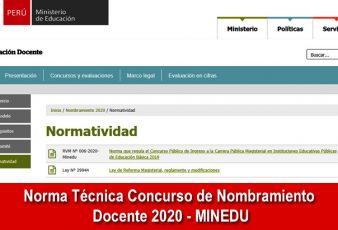 Norma Técnica Concurso de Nombramiento Docente 2020