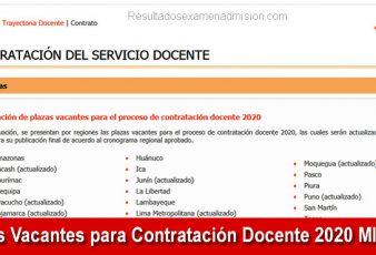 Plazas Vacantes para Contratación Docente 2020 MINEDU