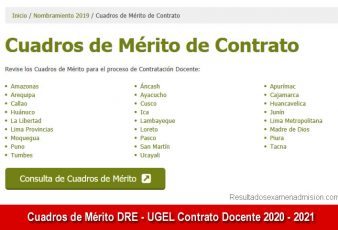 Resultados Cuadros de Mérito DRE - UGEL Contrato Docente 2020 - 2021