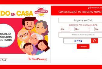 www.yomequedoencasa.pe Consultar Bono 380 Soles