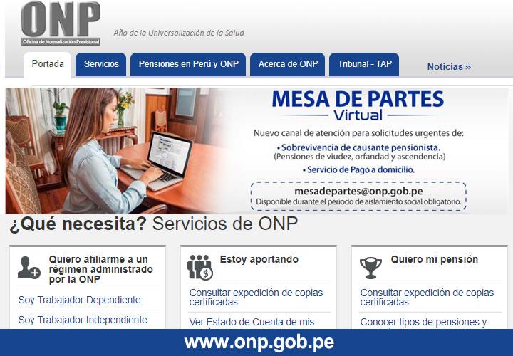 Consultar ONP Plataforma virtual