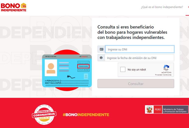 Consultar con DNI bono independiente en www.bonoindependiente.pe