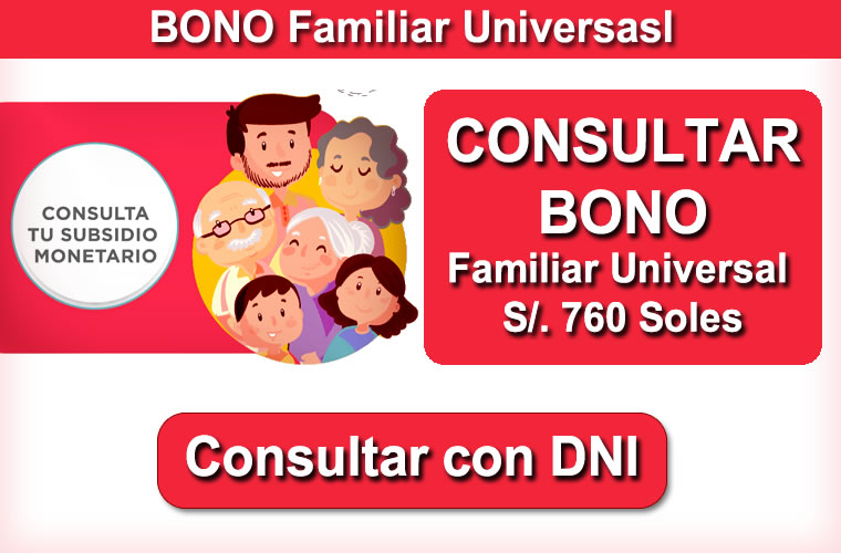 Ingresar con DNI BONO Familiar Universal de 760 Soles