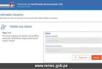 Solicitar Certificado C4 en RENIEC