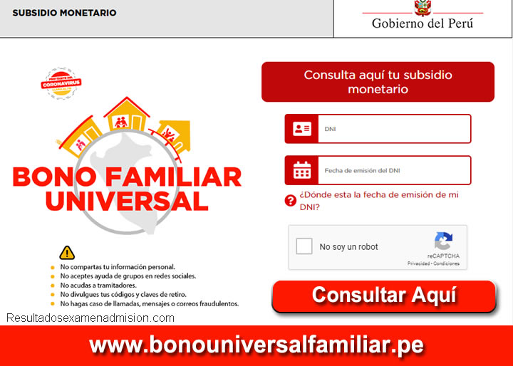 Bono Familiar Universal 760 Soles Ingresar con DNI