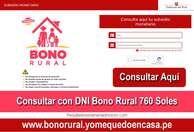 Bono Rural 760 Soles Consultar con DNI