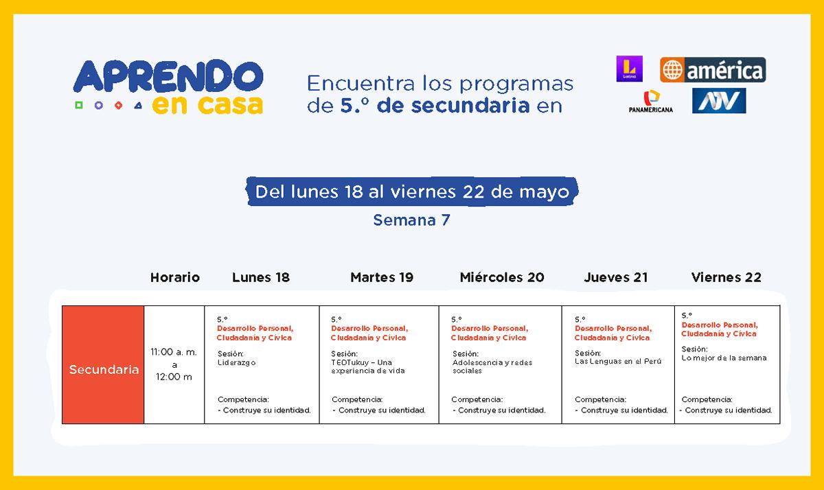 Programacion Semana 7 Aprendoencasa América Latina Atv Panamericana