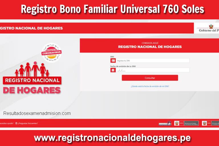 Registro para el BONO Universal de 760