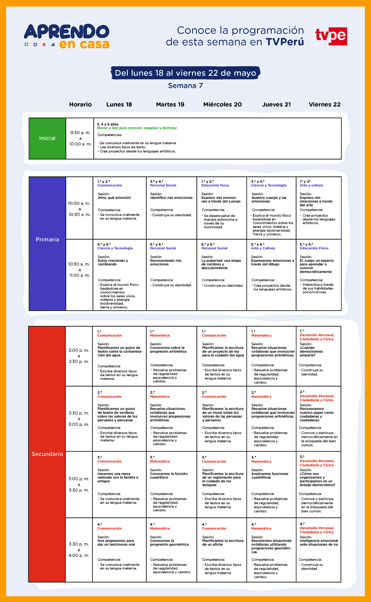 programacion Semana 7 Aprendoencasa TV Perú