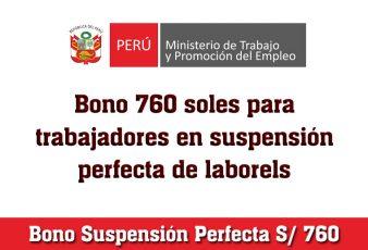 Bono Suspensión Perfecta 760 soles