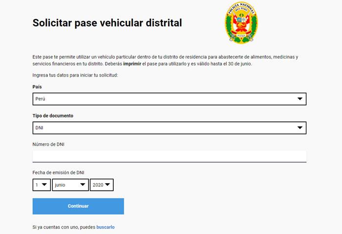Solicitar Pase Vehicular Laboral y Distrital 2020