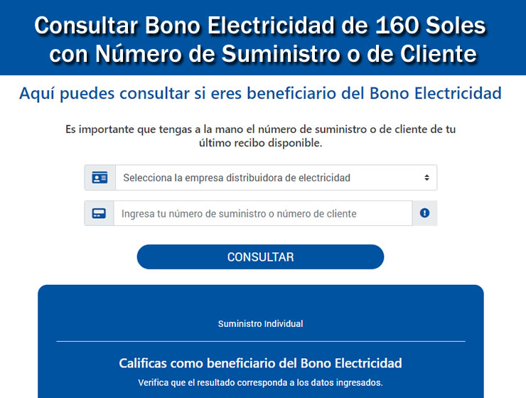 Consultar Bono Electricidad 160 Soles por internet