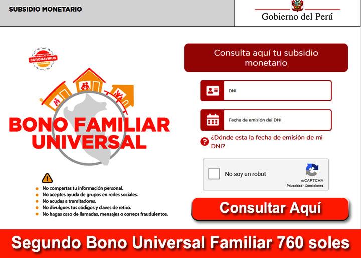 Segundo Bono Familiar Universals 760 Soles