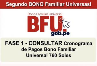 Cronograma de pagos BONO Familiar Universal de 760 Soles