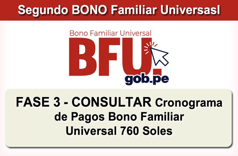 Consultar BONO Familiar Universal de 760 Soles Fase 3