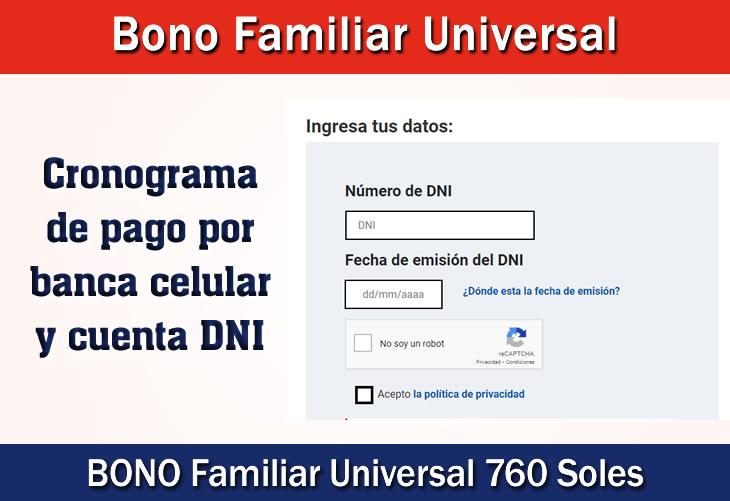 Bono Familiar Universal Cobrar con Cuenta DNI