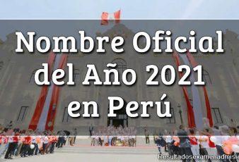 Nombre del año 2021 en Perú Denominación Oficial