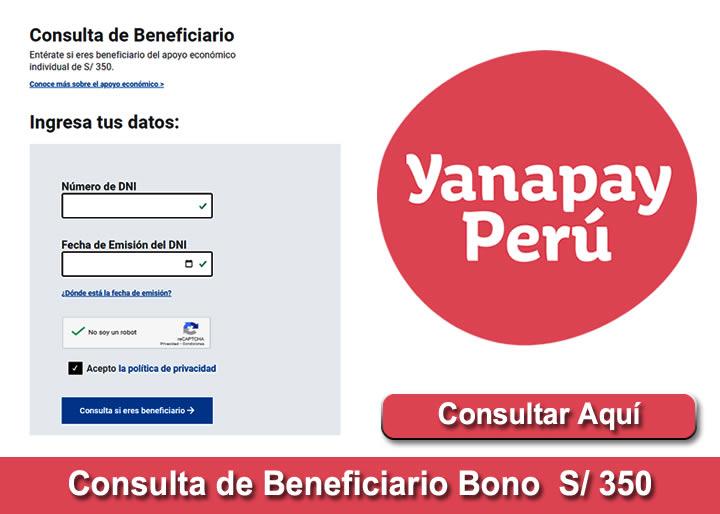 Consultar con DNI Bono Yanapay 350 Soles